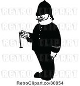 Vector Clip Art of Retro Police Guy Holding a Pocket Watch by Prawny Vintage