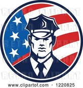 Vector Clip Art of Retro Police Guy in an American Flag Circle by Patrimonio