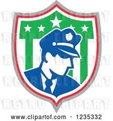 Vector Clip Art of Retro Police Guy in an American Shield by Patrimonio