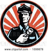 Vector Clip Art of Retro Police Guy or Security Guard Shining a Flashlight over a Circle of Red Rays by Patrimonio
