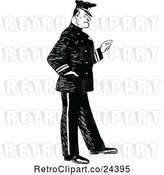Vector Clip Art of Retro Police Guy Pointing by Prawny Vintage