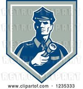 Vector Clip Art of Retro Police Guy with a Flashlight in a Shield by Patrimonio