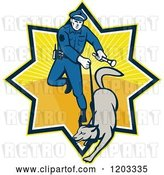 Vector Clip Art of Retro Police Officer and Dog in a Ray Burst by Patrimonio