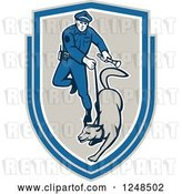 Vector Clip Art of Retro Police Officer and K9 Unit Dog in a Shield by Patrimonio