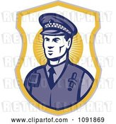 Vector Clip Art of Retro Police Officer Badge by Patrimonio