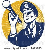 Vector Clip Art of Retro Police Officer or Security Guard Shining a Flashlight over a Circle of Orange Rays by Patrimonio