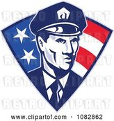 Vector Clip Art of Retro Police Officer over an American Triangle by Patrimonio