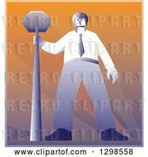 Vector Clip Art of Retro Police Offier Standing with a Stop Sign by Patrimonio