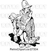 Vector Clip Art of Retro Policeman Carrying a Drunkard by Prawny Vintage