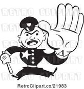 Vector Clip Art of Retro Policeman Running with a Baton by BestVector