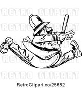Vector Clip Art of Retro Policeman Running with His Legs Split by Prawny Vintage