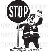 Vector Clip Art of Retro Policeman with a Stop Sign by BestVector