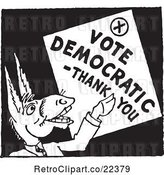 Vector Clip Art of Retro Politician Donkey with a Vote Democratic Thank You Sign by BestVector