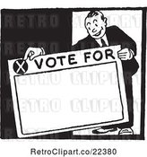 Vector Clip Art of Retro Politician Holding a Vote for Sign by BestVector