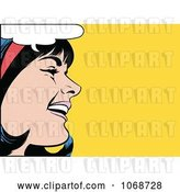 Vector Clip Art of Retro Pop Art Black Haired Lady Talking 2 by Brushingup