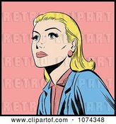 Vector Clip Art of Retro Pop Art Blond Lady Looking up by Brushingup