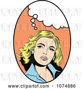Vector Clip Art of Retro Pop Art Blond Lady with a Thought Balloon in an Oval by Brushingup