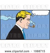 Vector Clip Art of Retro Pop Art Business Man Smoking a Pipe by Brushingup