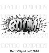 Vector Clip Art of Retro Pop Art Comic Styled Boom Explosion Sound Effect by AtStockIllustration