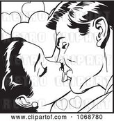 Vector Clip Art of Retro Pop Art Couple Kissing in 1 by Brushingup