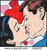 Vector Clip Art of Retro Pop Art Couple Kissing over Hearts by Brushingup