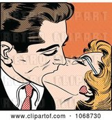 Vector Clip Art of Retro Pop Art Couple Kissing over Orange by Brushingup