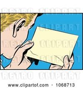 Vector Clip Art of Retro Pop Art Guy Reading a Message by Brushingup