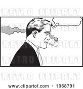 Vector Clip Art of Retro Pop Art Guy Smoking a Pipe by Brushingup