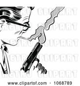 Vector Clip Art of Retro Pop Art Guy with a Cigarette and Gun by Brushingup