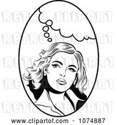 Vector Clip Art of Retro Pop Art Lady with a Thought Balloon in an Oval by Brushingup