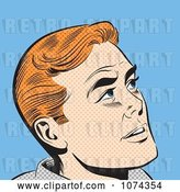 Vector Clip Art of Retro Pop Art Red Haired Guy Looking up by Brushingup
