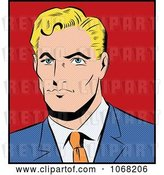 Vector Clip Art of Retro Pop Art Styled Blond Business Man by Brushingup