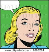Vector Clip Art of Retro Pop Art Styled Talking Blond Lady by Brushingup