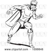 Vector Clip Art of Retro Pop Art Super Hero Guy in a Punching Stance by Brushingup