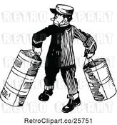 Vector Clip Art of Retro Porter Carrying Luggage by Prawny Vintage