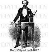 Vector Clip Art of Retro Portrait of Charles Dickens by Prawny Vintage