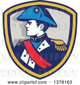 Vector Clip Art of Retro Portrait of French General Commander Napoleon Bonaparte in Profile in a Shield by Patrimonio