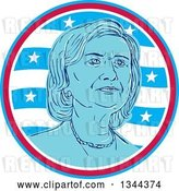 Vector Clip Art of Retro Portrait of Hillary Clinton in a Circle of Waves and Stars by Patrimonio