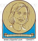 Vector Clip Art of Retro Portrait of Hillary Clinton in a Circle over a Banner with Her Name by Patrimonio