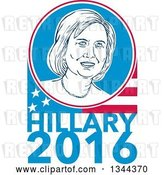 Vector Clip Art of Retro Portrait of Hillary Clinton in a Circle over a Partial American Flag and Text by Patrimonio