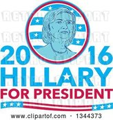 Vector Clip Art of Retro Portrait of Hillary Clinton in a Circle over Text by Patrimonio