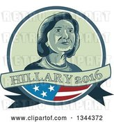 Vector Clip Art of Retro Portrait of Hillary Clinton in a Circle with a Partical American Flag and Text Banner by Patrimonio