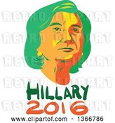 Vector Clip Art of Retro Portrait of Hillary Clinton over Text by Patrimonio