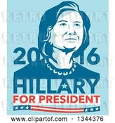 Vector Clip Art of Retro Portrait of Hillary Clinton with Text on Blue by Patrimonio