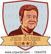 Vector Clip Art of Retro Portrait of Jeb Bush in a Shield with 2016 Text by Patrimonio