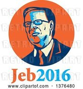 Vector Clip Art of Retro Portrait of Jeb Bush with Text by Patrimonio