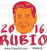 Vector Clip Art of Retro Portrait of Marco Rubio with Text by Patrimonio