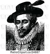 Vector Clip Art of Retro Portrait of Sir Walter Raleigh by Prawny Vintage