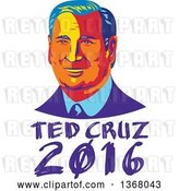 Vector Clip Art of Retro Portrait of Ted Cruz over Text by Patrimonio