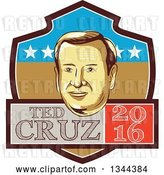 Vector Clip Art of Retro Portrait of Tex Cruz on a Shield with 2016 Text by Patrimonio